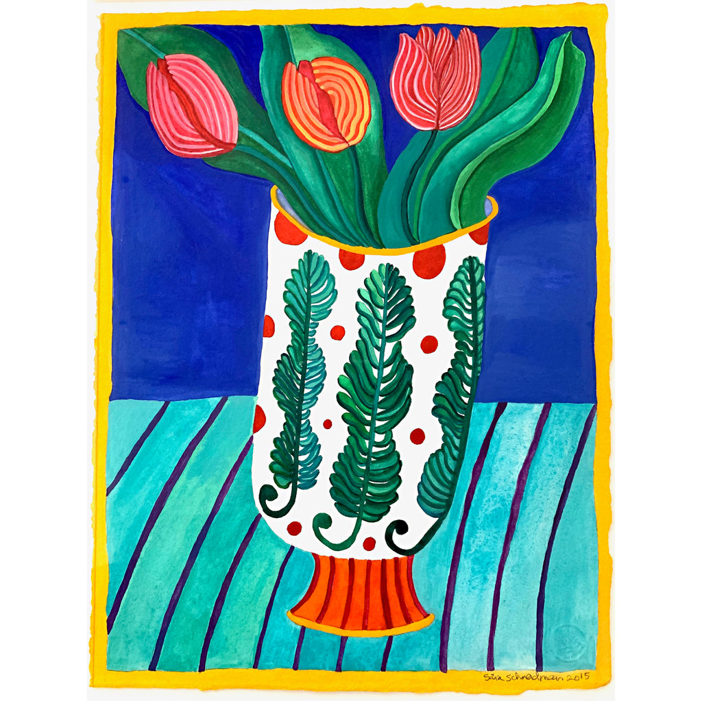 Watercolor painting of three tulips in a vase decorated with ferns against a royal blue background on a striped green tablecloth by Sara Schneidman at Cottage Curator, Sperryville VA Art Gallery