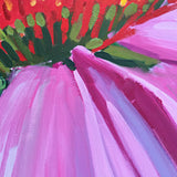 Closeup of Echinacea or Purple Coneflower with pink/purple petals and orange center by Krista Townsend at Cottage Curator Art Gallery - Sperryville VA