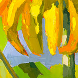 Detail of painting of large sunflower petals against a blue sky with impasto brush strokes by Krista Townsend at Cottage Curator - Sperryville VA Art Gallery