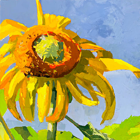 Painting of large sunflower against a blue sky with impasto brush strokes by Krista Townsend at Cottage Curator - Sperryville VA Art Gallery