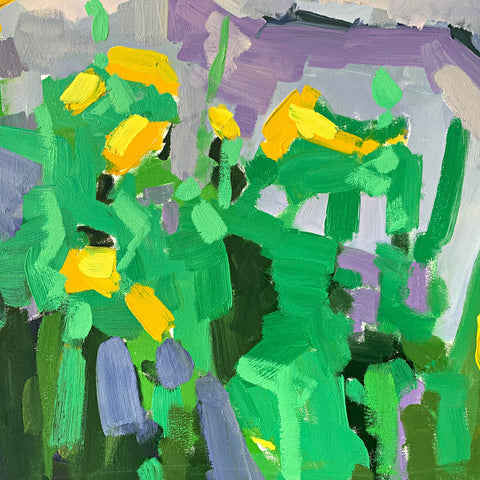 Detail of Painting of wildflowers and rocks in purples, greens and yellows by Krista Townsend at Cottage Curator - Sperryville VA Art Gallery