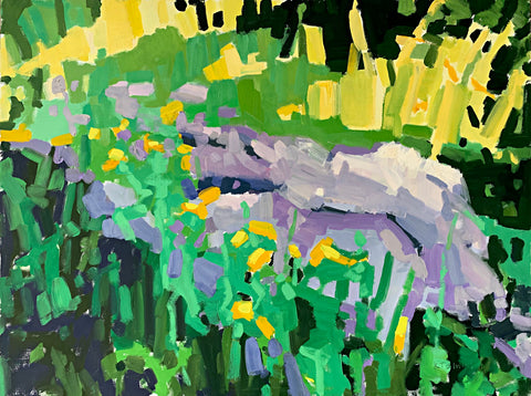 Painting of wildflowers and rocks in purples, greens and yellows by Krista Townsend at Cottage Curator - Sperryville VA Art Gallery