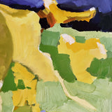 Detail of painting of yellow leaves against a blue and green landscape by Krista Townsend at Cottage Curator Sperryville VA art gallery