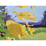 Painting of yellow leaves against a colorful blue and green landscape by Krista Townsend at Cottage Curator Sperryville VA art gallery