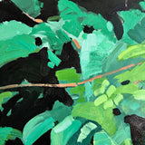 Painting of bright green leaves and vines on a black background by Krista Townsend at Cottage Curator - Sperryville VA art gallery