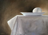 Painting of egg on white plate sitting on table with white cloth against a brown background by KC Werner at Cottage Curator Sperryville VA