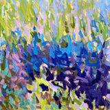 Detail of oil painting with blue, green and purple brush strokes by Priscilla Long Whitlock at Cottage Curator, Sperryville VA Art Gallery
