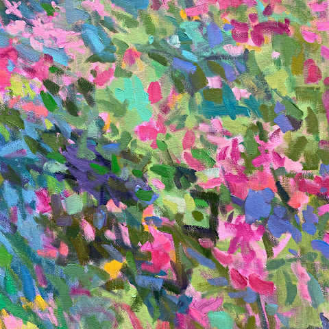 Detail of painting of flowers in impressionist brush strokes with primarily pinks, blues, and greens by Priscilla Long Whitlock at Cottage Curator -Sperryville VA Art Gallery