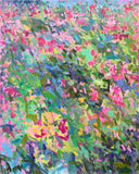 Vertical painting of flowers in impressionist brush strokes with primarily pinks, blues, and greens by Priscilla Long Whitlock at Cottage Curator -Sperryville VA Art Gallery