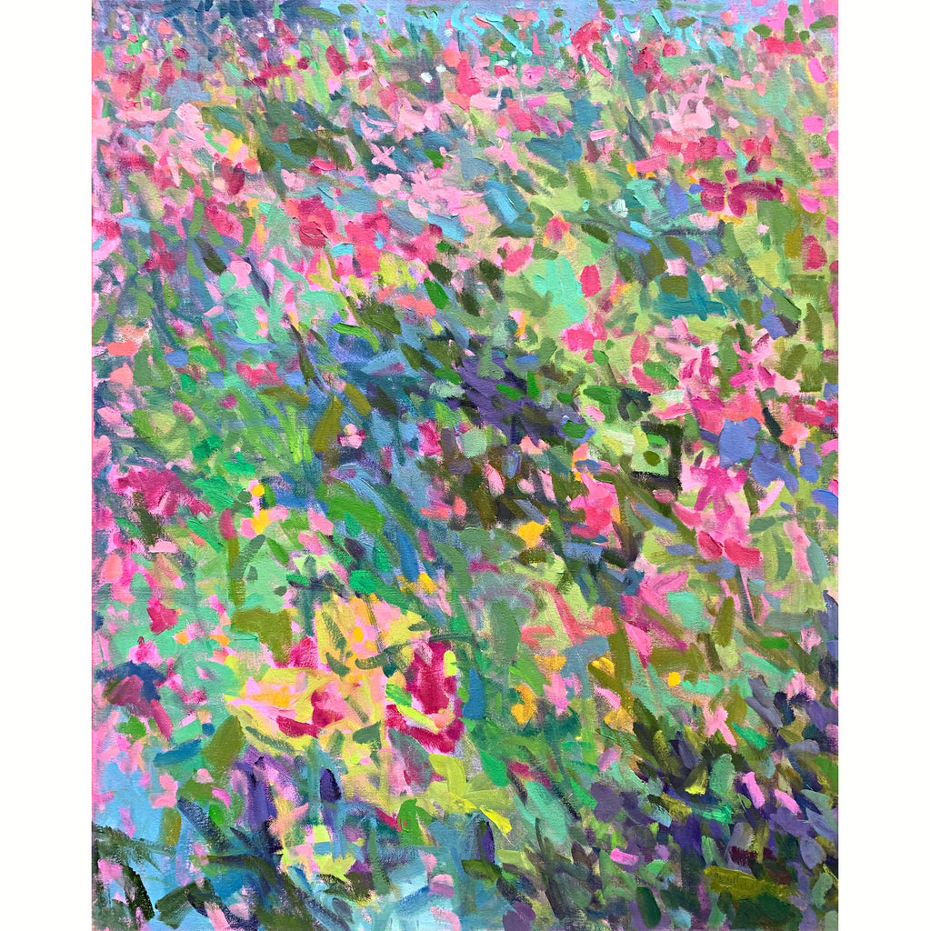 Painting of flowers in impressionist brush strokes with primarily pinks, blues, and greens by Priscilla Long Whitlock at Cottage Curator -Sperryville VA Art Gallery
