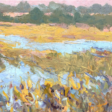 Detail of landscape painting of marsh with pastel pinks, greens, yellows and deep blues by Priscilla Long Whitlock at Cottage Curator - Sperryville VA Art Gallery