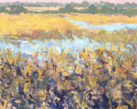 Landscape painting of marsh with pastel pinks, greens, yellows and deep blues by Priscilla Long Whitlock at Cottage Curator - Sperryville VA Art Gallery
