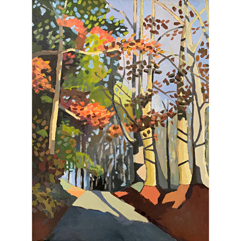 Painting of a path in the woods on an autumn afternoon in greens, browns and oranges by Joan Wiberg at Cottage Curator - Sperryville VA Art Gallery