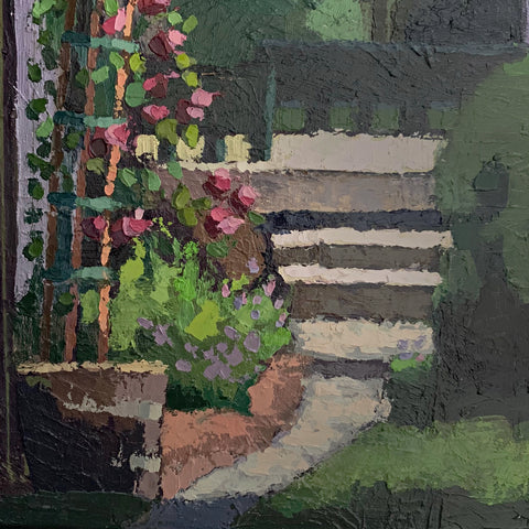 Detail of Painting of garden with steps and trellis of roses by Joan Wiberg at Cottage Curator - Sperryville VA Art Gallery