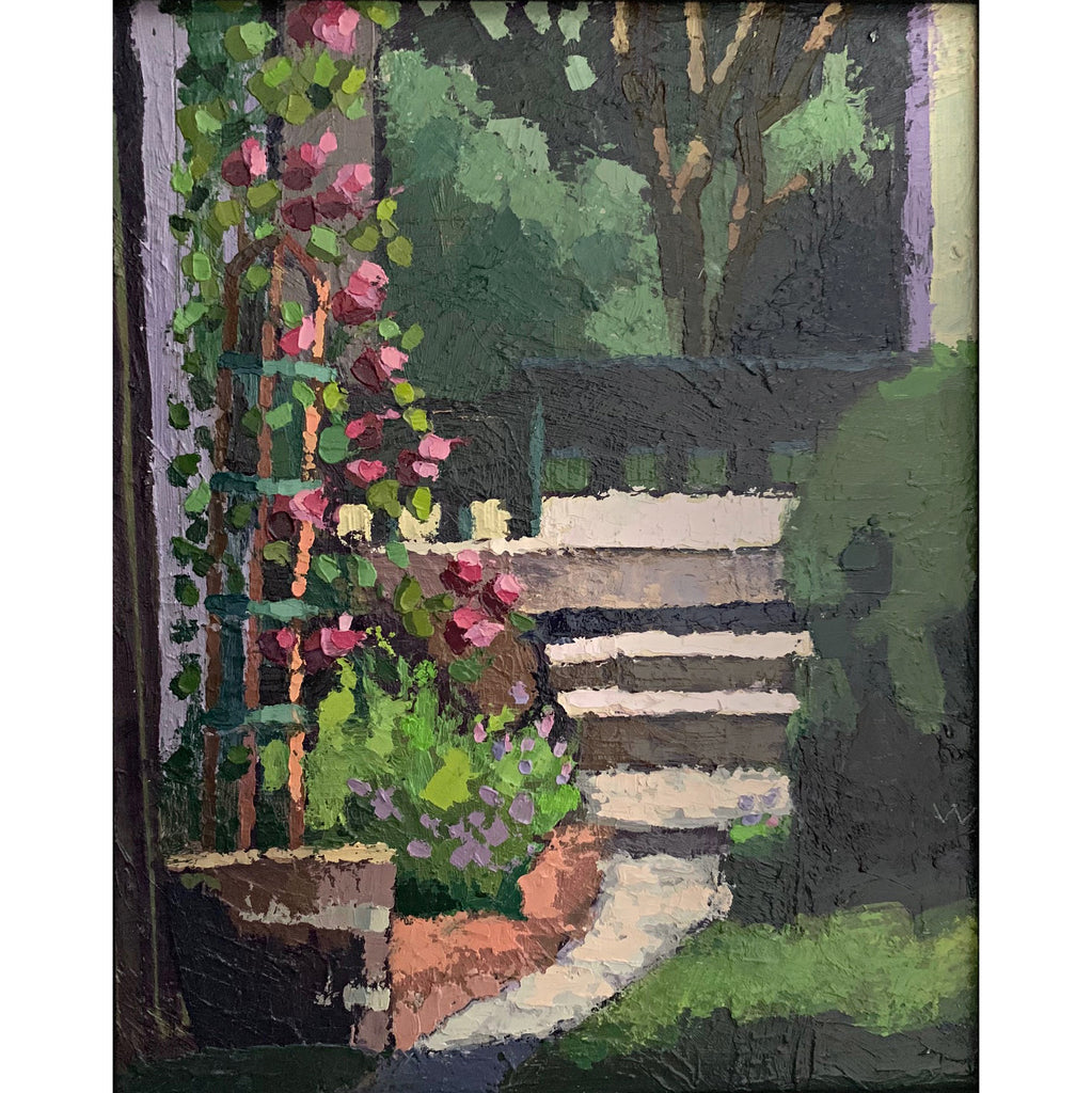Painting of garden with steps and trellis of roses by Joan Wiberg at Cottage Curator - Sperryville VA Art Gallery
