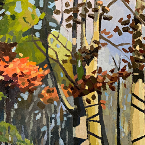 Detail of Painting of a path in the woods on an autumn afternoon in greens, browns and oranges by Joan Wiberg at Cottage Curator - Sperryville VA Art Gallery