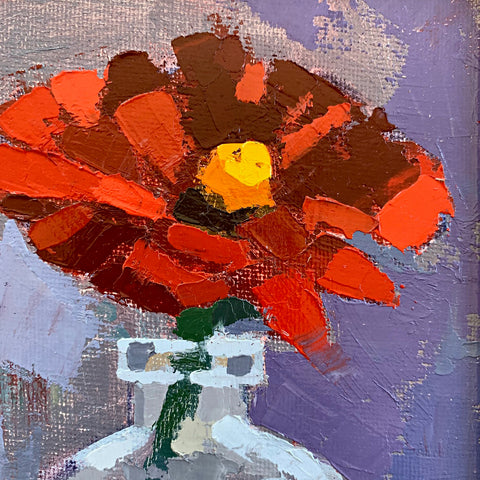 Detail of Painting of an orange zinnia in a glass vase with gestural brush strokes by Joan Wiberg at Cottage Curator - Sperryville VA Art Gallery