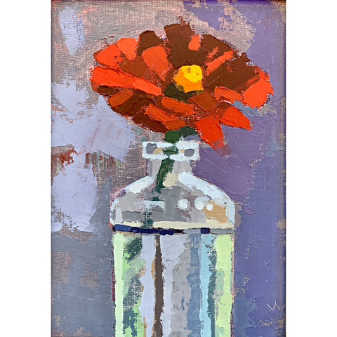 Painting of an orange zinnia in a glass vase with gestural brush strokes by Joan Wiberg at Cottage Curator - Sperryville VA Art Gallery