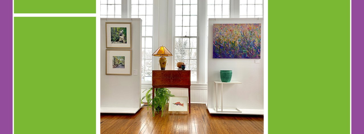 Gallery view featuring ceramics, paintings, furniture wood-turned objectsand photographs