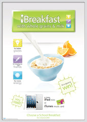 iBreakfast cereal and milk poster