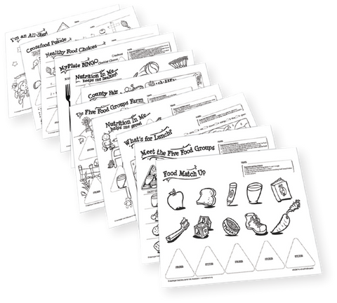 Five Food Group Sticker Activity Masters-Free Download