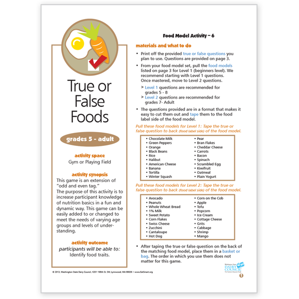 Food Model Activity 6-True or False Foods-Free Download