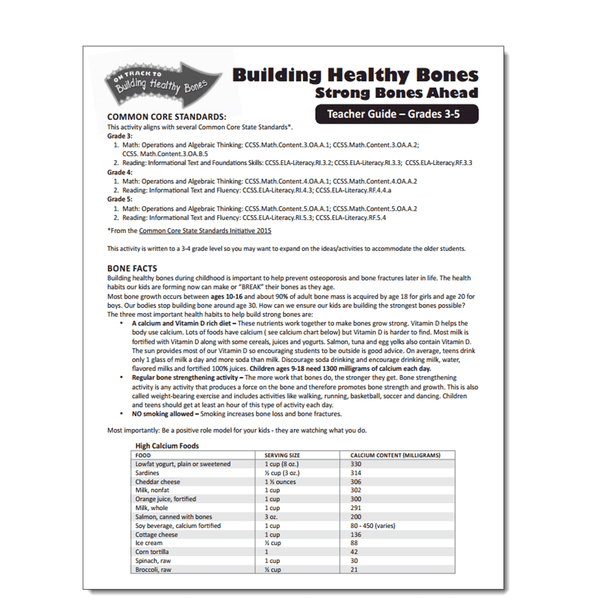 Building Healthy Bones Activity Sheet - Leader Guide-Free Download