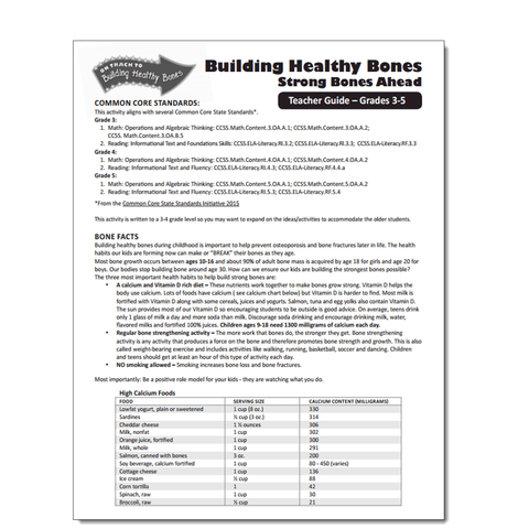 Building Healthy Bones Activity Sheet - Leader Guide