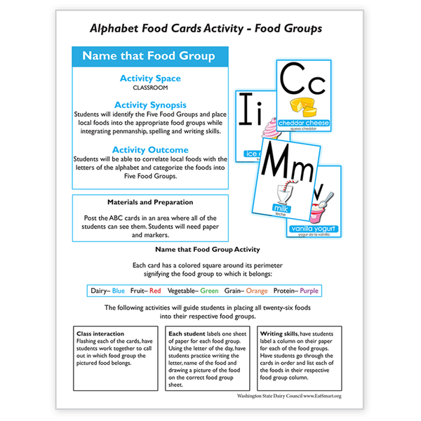 Alphabet Food Card Activity-Food Groups -Free Download