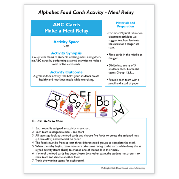 Alphabet Food Card Activity-Meal Relay -Free Download