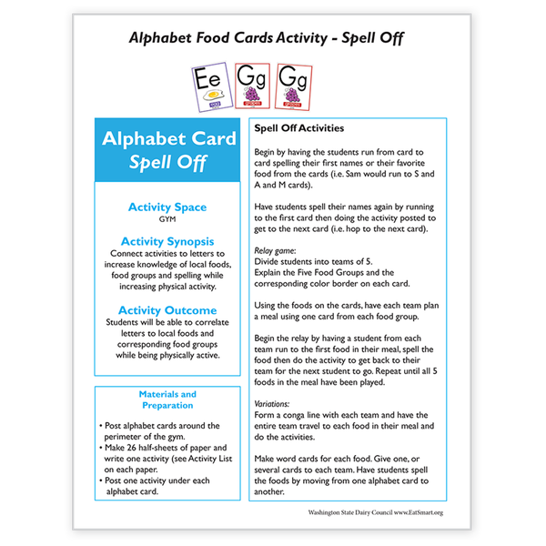 Alphabet Food Card Activity-Spell Off-Free Download