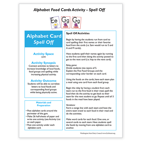 Alphabet Food Card Activity-Spell Off