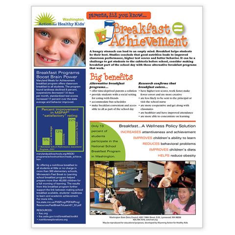 Breakfast Equals Achievement for Parents-Free Download