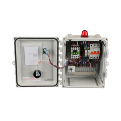 "Sewage Simplex Control Panel 220V Front Open View 10""x8""x4"""