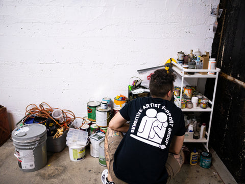 t shirt, sensitive artist support group, nat baker, long beach, local artists