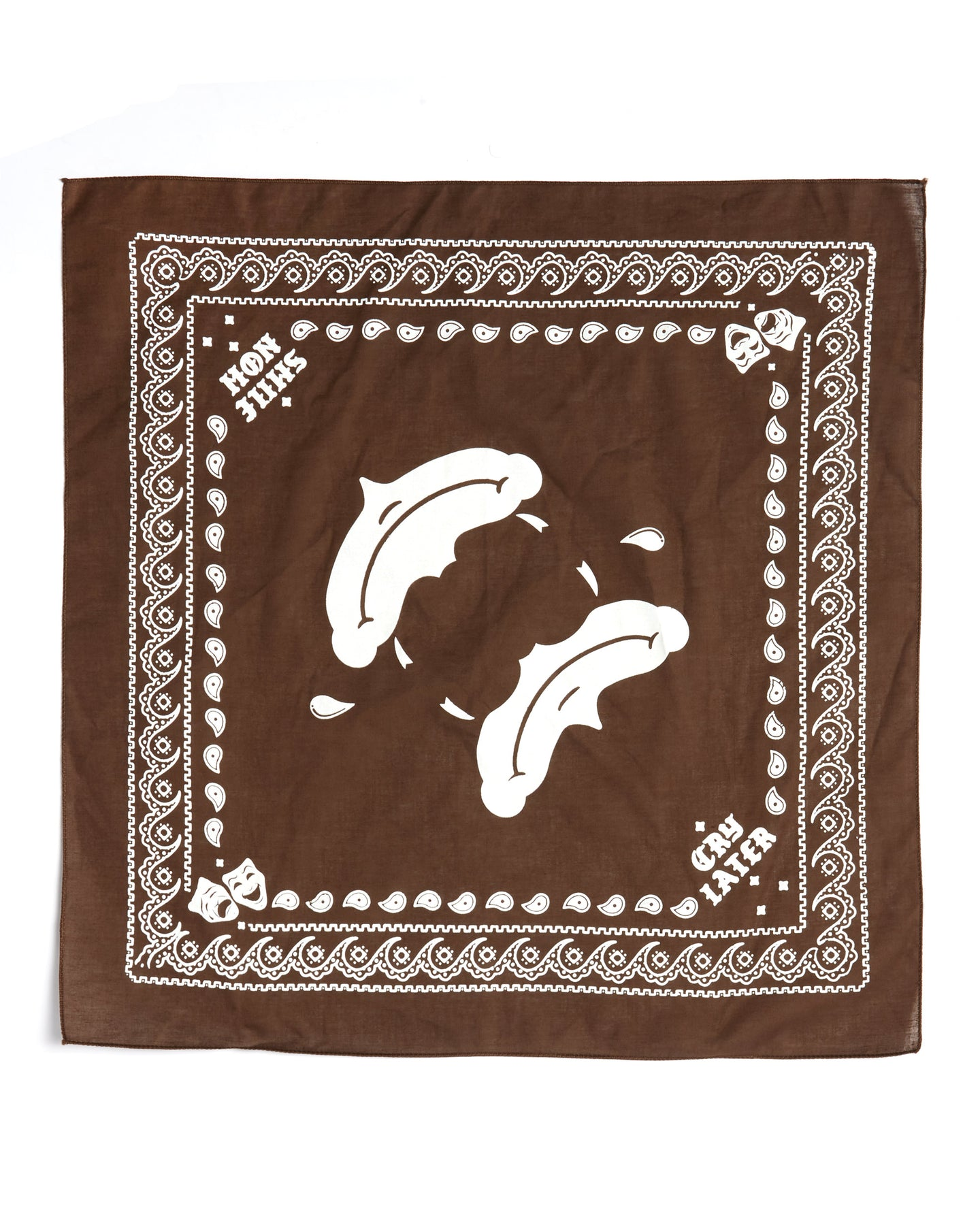 Smile now cry laters bandana, brown