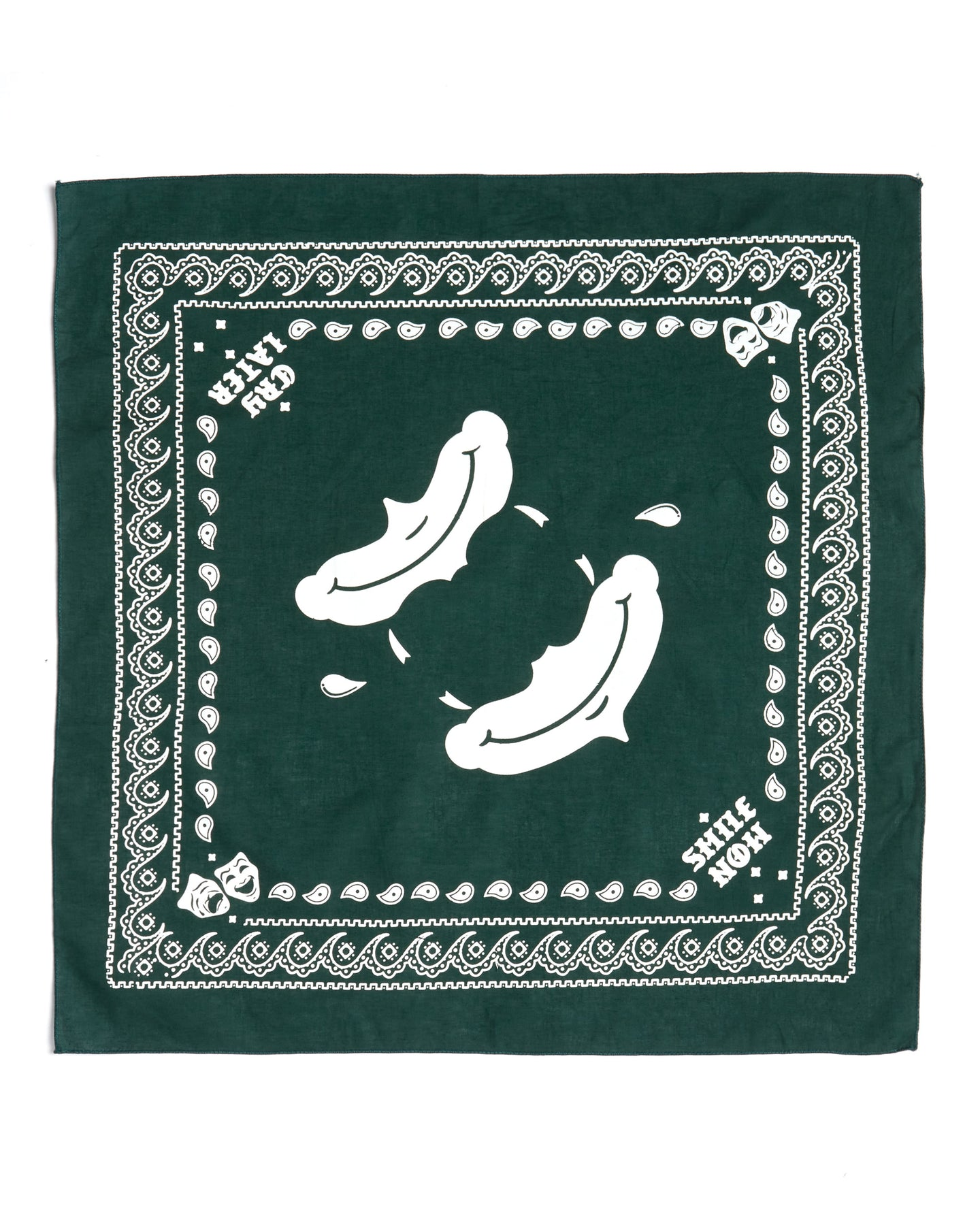 Smile now cry laters bandana, green