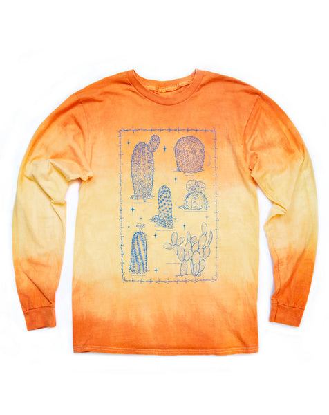 T shirt: Cactus Long Sleeve, Orange Dye