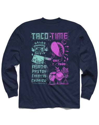 T shirt: Taco Time Long Sleeve, Navy