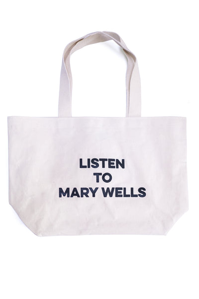 Listen to Mary Wells tote bag