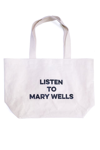 Listen to Mary Wells heavy duty tote bag