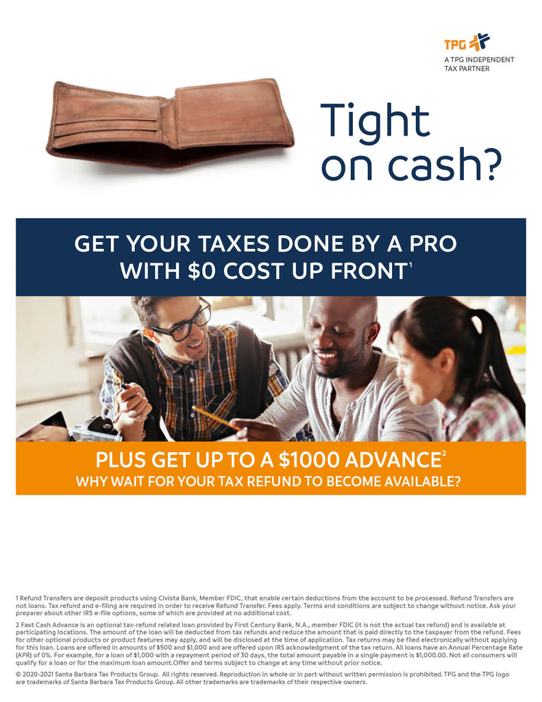 Brandable Fast Cash Advance and Refund Transfer Intuit Pro Series combo ad flyer