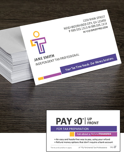 Refund Transfer Brandable Business Cards — Free