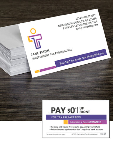 Refund Transfer Brand-able Business Cards — Free