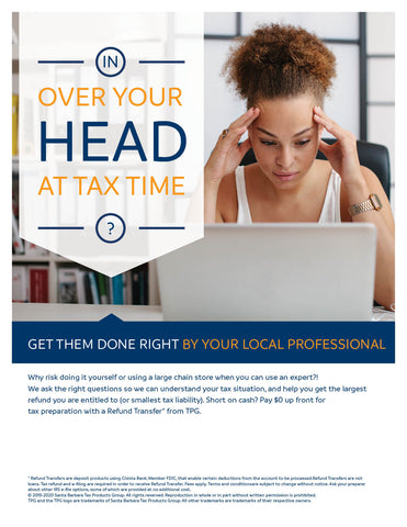 Tax Preparation Brandable Generic Flyer With Refund Transfer