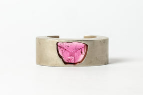 Crescent Bracelet (Crystal Impregnated, Pink Tourmaline, 30mm, AS+TOU)