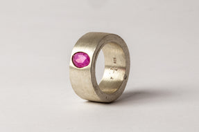 Sistema Ring (0.90 CT, Ruby Faceted Slab, 9mm, MA+RUB)