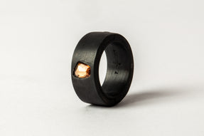 Sistema Ring (0.75 CT, Orange Sapphire Faceted Slab, 9mm, KA+SAF)