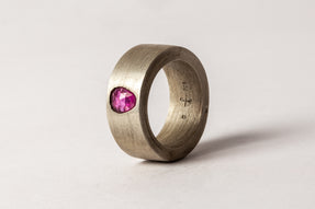 Sistema Ring (0.74 CT, Ruby Faceted Slab, 9mm, DA+RUB)
