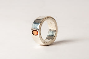 SIstema Ring (0.69 CT, Orange Sapphire Faceted Slab, 9mm, PA+SAF)